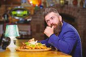 Hipster Hungry Eat Pub Fried Food. Man Received Meal With Fried Potato Fish Sticks Meat. High Calori poster