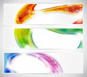 Set of abstract colorful web headers made of overlying abstract shapes with light effects. Space for