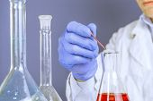 Hands Of A Lab Technician With A Tube Of Blood Sample And A Rack With Other Samples Lab Technician H poster