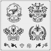 Vector Set Of Tattoo Salon Labels, Badges And Design Elements. Tattoo Studio Emblems With Profession poster