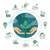 Vector Illustration With Set Of Icons Isolated On White Background On The Theme Of Ecology, Green An poster