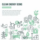 Vector Template With Place For Text And Isolated Icons Set On The Theme Of Green Energy, Ecology, Na poster