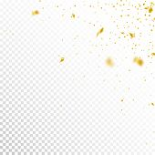 Streamers And Confetti. Gold Tinsel And Foil Ribbons. Confetti Corner On White Transparent Backgroun poster