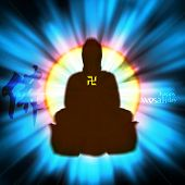 stock photo of wesak day  - Vector Buddha with Shinny Backlight - JPG