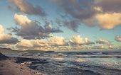 Ocean In Sunrise Nature Landscape. Clouds And Ocean Landscape. Ocean Nature In Sunrise. Nature Lands poster
