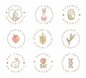 Set Of Eco Product Logos, Natural Organic Healthy Food And Drink Icons, Labels For Restaurant Menu,  poster