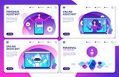 Vector Personal Assistant, Voice Assistant, Online Robotic Assistant Landing Page Set. Voice Smart A poster