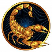 Scorpio Zodiac Sign Of Gold, Astrological Icon, Horoscope Symbol. Stylized Graphic Golden Scorpion W poster