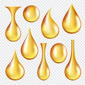 Oil Transparent Drops. Yellow Liquid Golden Oil Vector Realistic Collection Of Splashes. Transparent poster