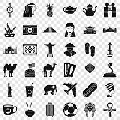 Tour Icons Set. Simple Style Of 36 Tour Vector Icons For Web For Any Design poster