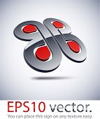 Vector illustration of 3D braided abstract business symbol.