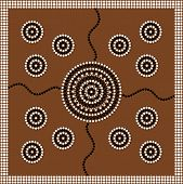 stock photo of aborigines  - A illustration based on aboriginal style of dot painting depicting circle - JPG
