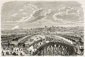 Nippon bridge old view, Yedo (Tokyo). Created by Pelcoq after Japanese painting by unknown author, p
