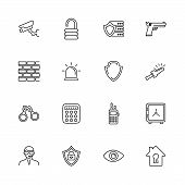 Security, Safety Outline Icons Set - Black Symbol On White Background. Security, Safety Simple Illus poster