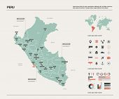 Vector Map Of Peru. Country Map With Division, Cities And Capital Lima. Political Map,  World Map, I poster