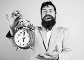Timely Concept. Hipster Happy Working Day Is Over. Businessman Finished On Time. Time Management Ski poster