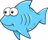 Silly Blue Shark Ocean Summer Vector Illustration