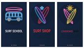 Mobile App Page Onboard Screen Set. Screens Template For Surf Shop, Surfing School, Longboard Online poster