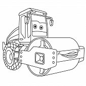 Coloring Page. Colouring Picture. Cute Cartoon Asphalt Paver. Road Roller Machine. Childish Design F poster