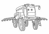 Coloring Page. Colouring Picture. Cute Cartoon Agricultural Sprayer. Crop Spraying Tractor. Childish poster