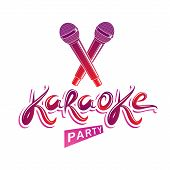 Karaoke Party Lettering, Rap Battle Vector Emblem Created Using Two Crossed Microphones Audio Equipm poster
