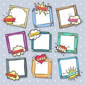 Comics Design Frames. Beautiful Photo Frame Set With Boom Bubbles For Design Collage, Funny Cute Com poster
