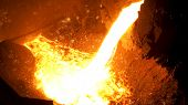 Smelting Of The Metal In The Foundry At The Steel Mill. Stock Footage. Close Up For Hot Steel Being  poster