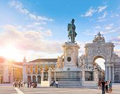 Lisbon, Portugal. King Jose I Statue at Praca do Comercio in front of Triumphal Arch near waterfront poster