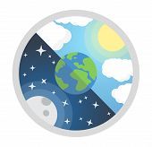 Vector Illustration Of Day And Night. Day Night Concept, Sun And Moon, Day Night Icon poster