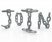 The word Join in chain links to represent the locked in security of joining a group, business, commu