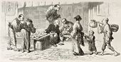 Grain merchants in Yedo (Tokyo) old illustration. Created by Perrin after engraving by unknown Japan