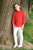 The Most Stylish Kid On The Playground. Happy Stylish Child Standing At Tree. Small Fashion Model Sm poster