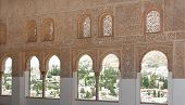 Intricate Window Details Inside The Alhambra Palace