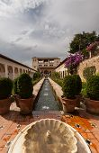 Water Feature Of Generalife Gardens Of The Alhambra Palace