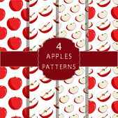 Illustration On Theme Big Colored Seamless Apple Pattern, Type Of Wallpaper For Walls. Seamless Patt poster