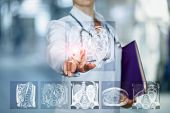 The Doctor Clicks The Image Magnetic Resonance Imaging On Blurred Background. poster