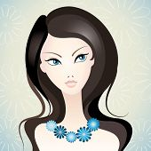 pic of pretty girl  - Vector illustration of a young beautiful girl - JPG