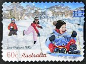A stamp printed in australia shows long weekend 1990s