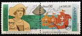A stamp printed in Brazil dedicated to the discovery of America by Christopher Columbus