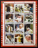 Collection stamps printed in Republic of Buryatia shows Pope John Paul II