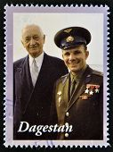 A stamp printed in Republic of Dagestan shows Yuri Gagarin - first human in space