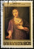 MONGOLIA - CIRCA 1980: A stamp printed in Mongolia shows Saskia with red flower by Rembrandt circa 1