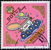 MONGOLIA - CIRCA 1973: A stamp printed in Mongolia shows Soyuz circa 1973