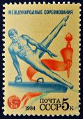 USSR - CIRCA 1984: A stamp printed in Russia shows a man on Pommel horse circa 1984