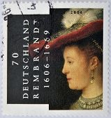 GERMANY - CIRCA 2006: A stamp printed in Germany shows image commemorating the life of Rembrandt cir