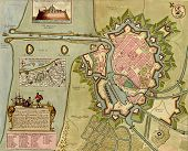 Antique Map Of  Dunkirk And Its Harbor