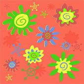 image of dtp  - funky flowers background pattern - JPG