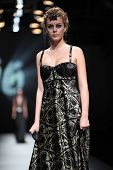ZAGREB, CROATIA - OCTOBER 18: Fashion model wears dress made by Hippy Garden at 'Croaporter' fashion