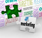 A puzzle piece with the word Marketing is your final answer completing your strategy to growing your