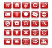 Glossy Red Square Web Buttons